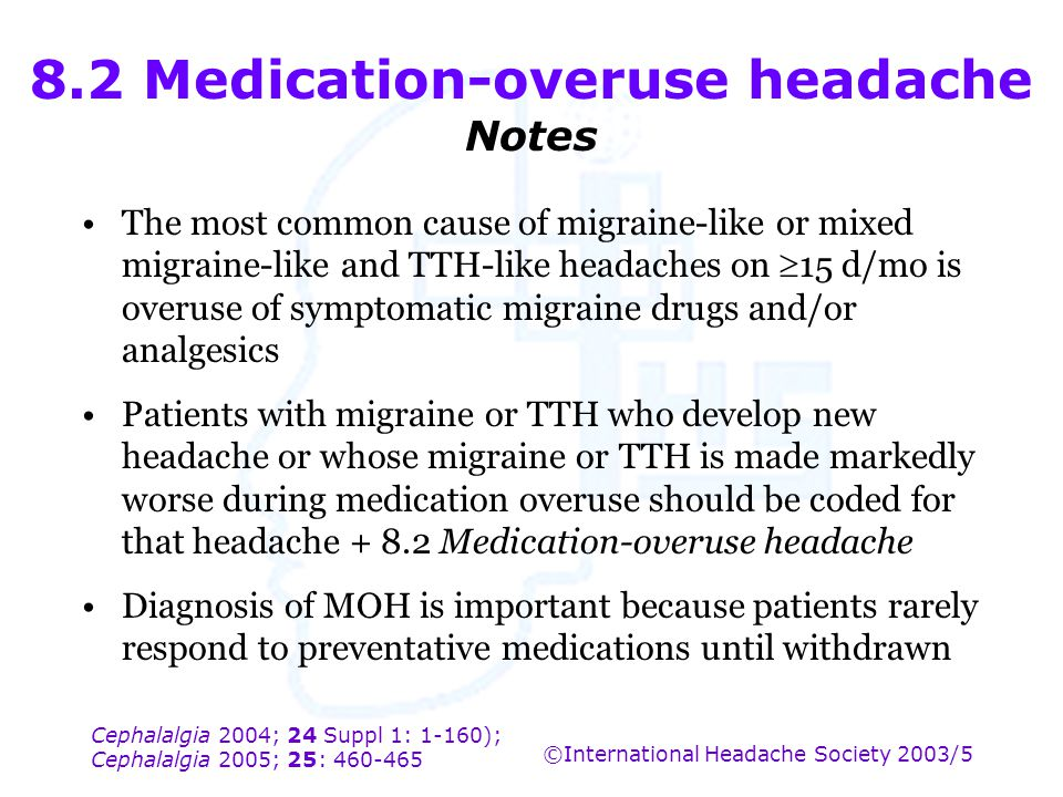 8.2 Medication-overuse headache Notes