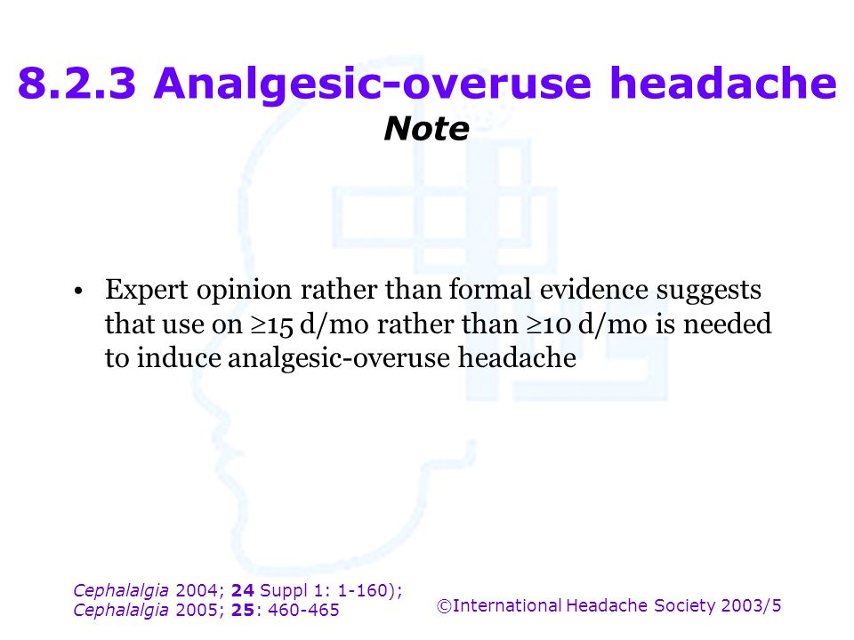 8.2.3 Analgesic-overuse headache Note