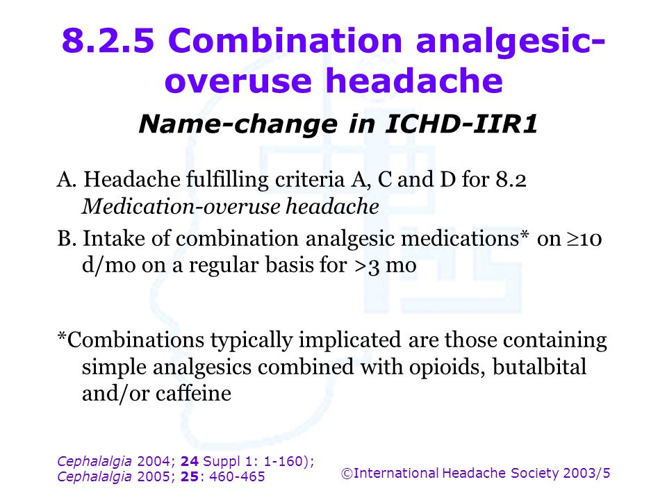 8.2.5 Combination analgesic-overuse headache Name-change in ICHD-IIR1