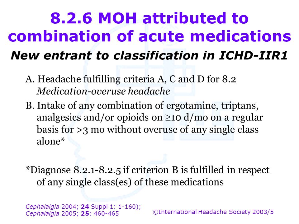 8.2.6 MOH attributed to combination of acute medications New entrant to classification in ICHD-IIR1