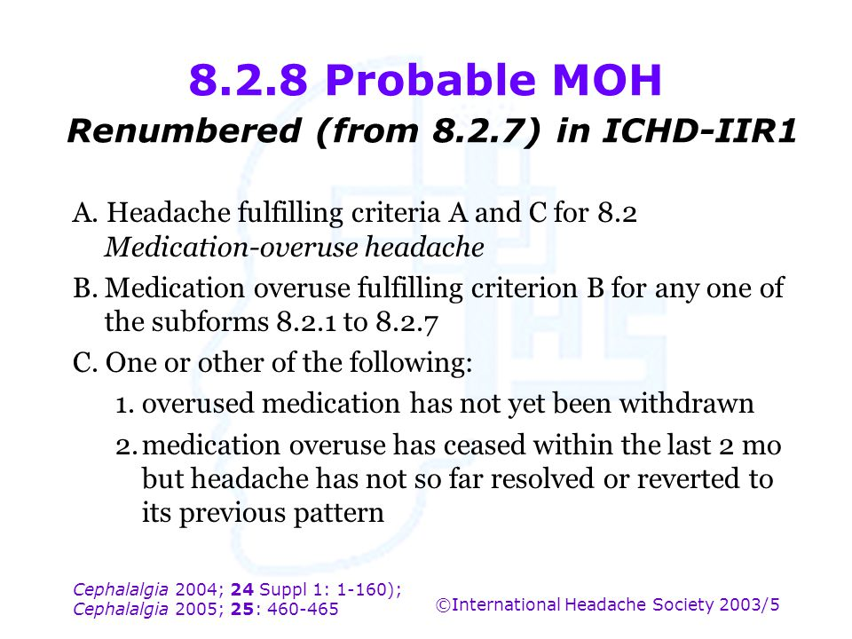 8.2.8 Probable MOH Renumbered (from 8.2.7) in ICHD-IIR1