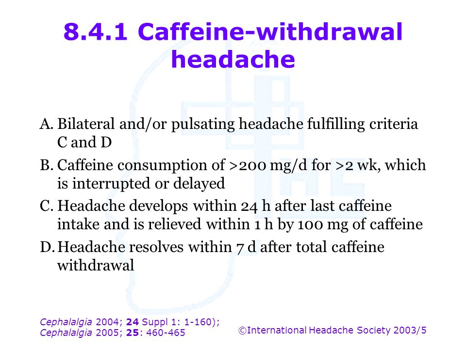 8.4.1 Caffeine-withdrawal headache