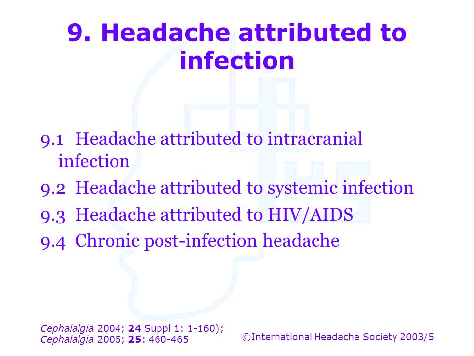 9. Headache attributed to infection