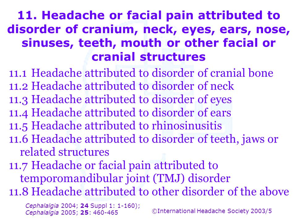 11.1 Headache attributed to disorder of cranial bone
