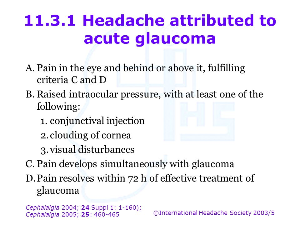 11.3.1 Headache attributed to acute glaucoma