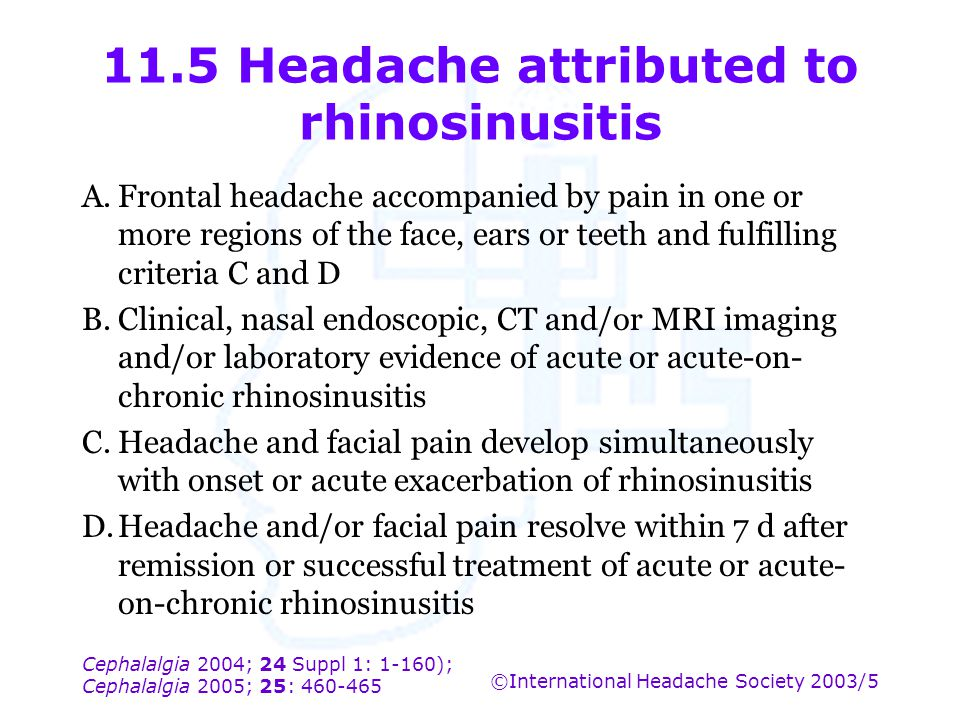 11.5 Headache attributed to rhinosinusitis