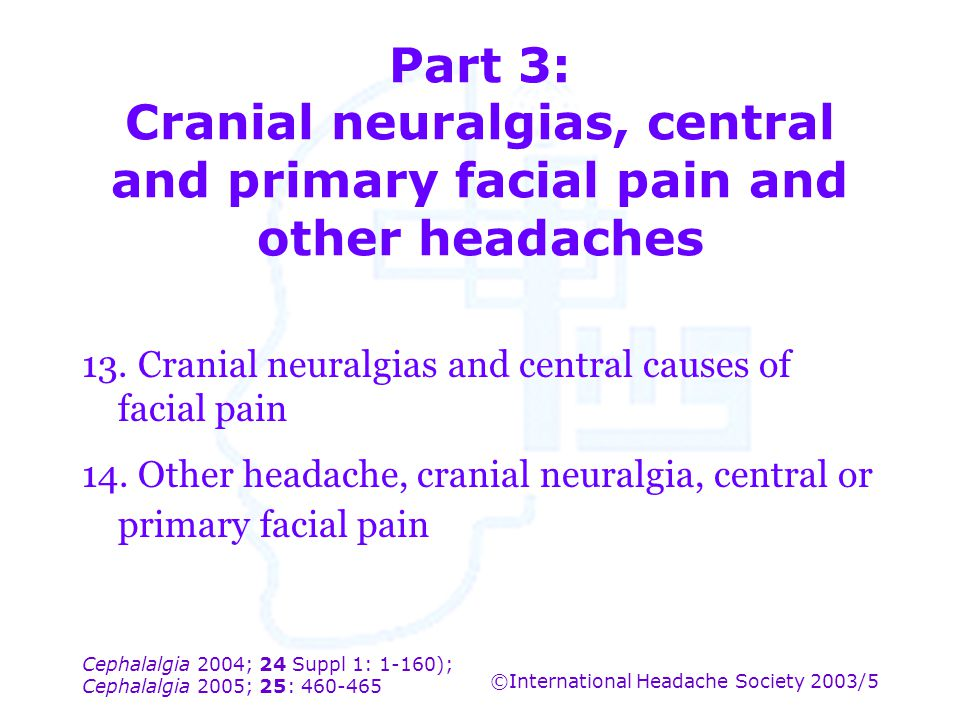 Part 3: Cranial neuralgias, central and primary facial pain and other headaches