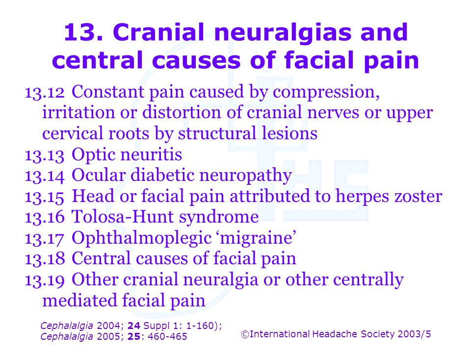 13. Cranial neuralgias and central causes of facial pain