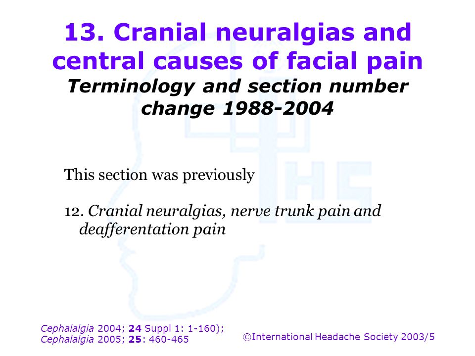 13. Cranial neuralgias and central causes of facial pain Terminology and section number change 1988-2004