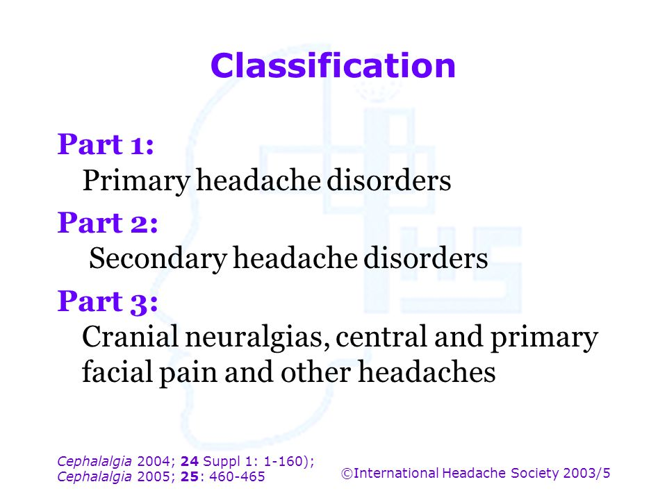Classification Part 1: Primary headache disorders