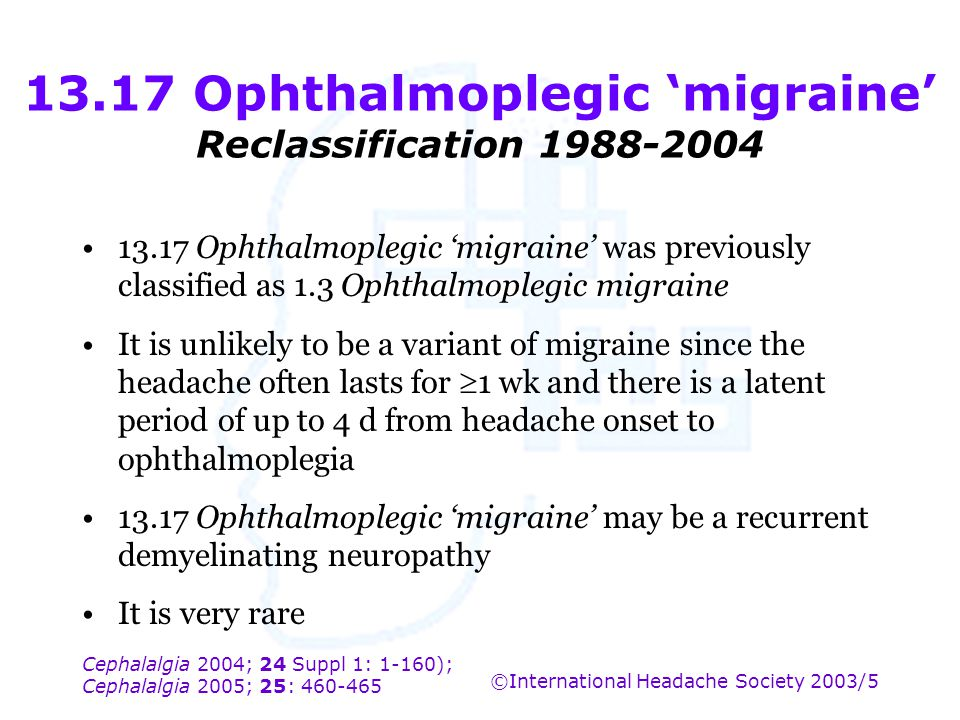 13.17 Ophthalmoplegic 'migraine' Reclassification 1988-2004
