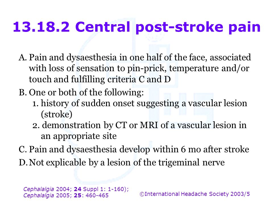 13.18.2 Central post-stroke pain