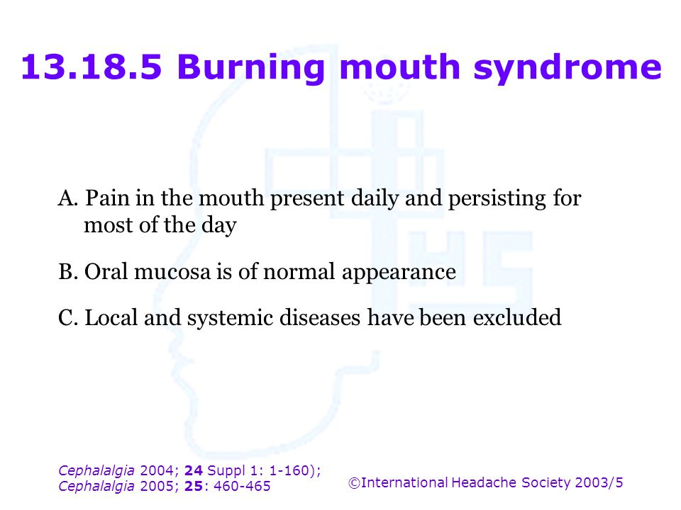 13.18.5 Burning mouth syndrome
