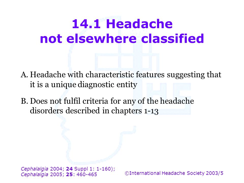 14.1 Headache not elsewhere classified