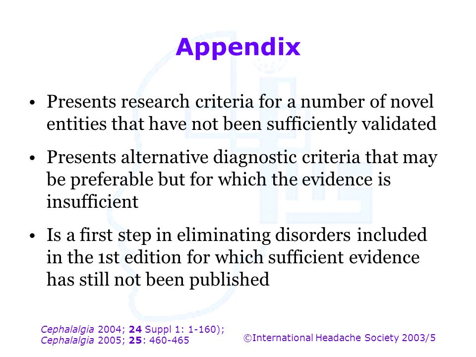 Appendix Presents research criteria for a number of novel entities that have not been sufficiently validated.