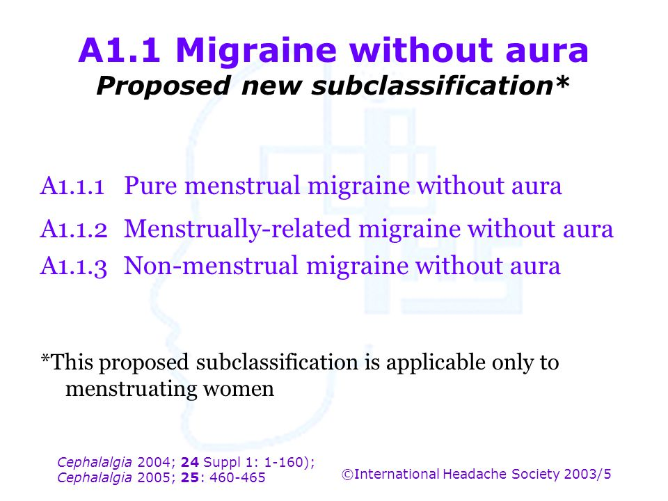 A1.1 Migraine without aura Proposed new subclassification*