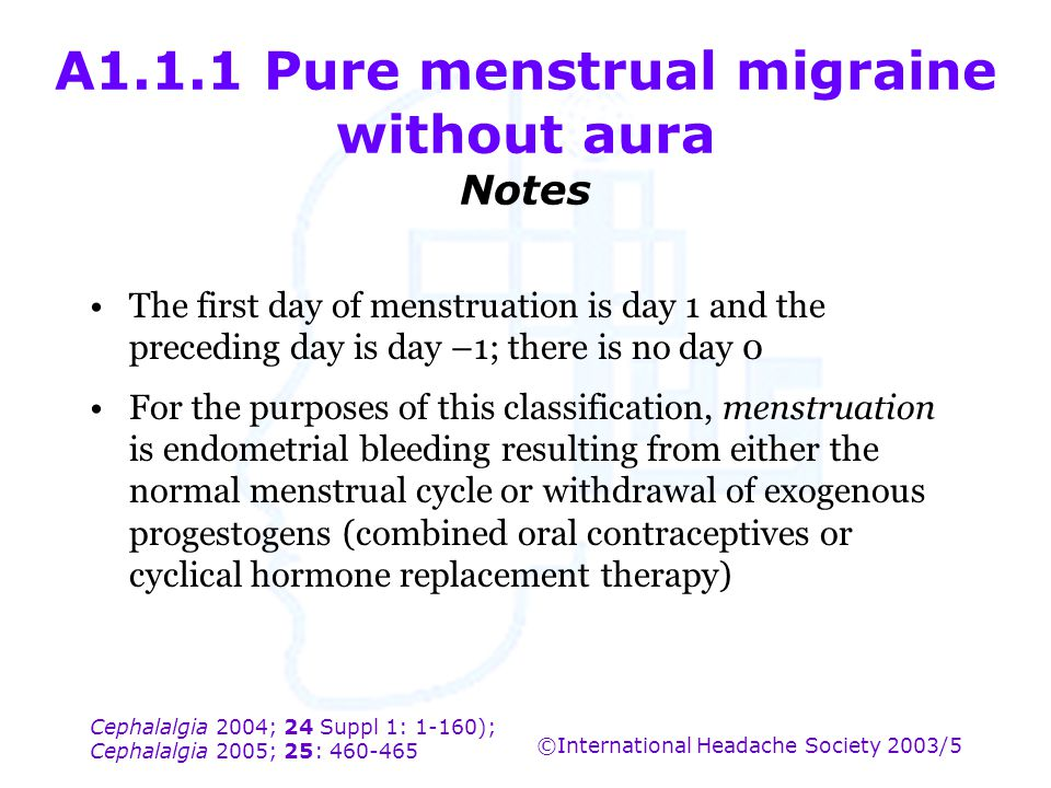 A1.1.1 Pure menstrual migraine without aura Notes