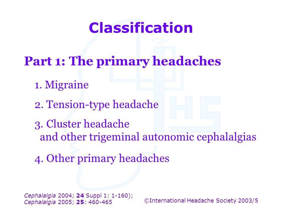 Classification Part 1: The primary headaches 1. Migraine