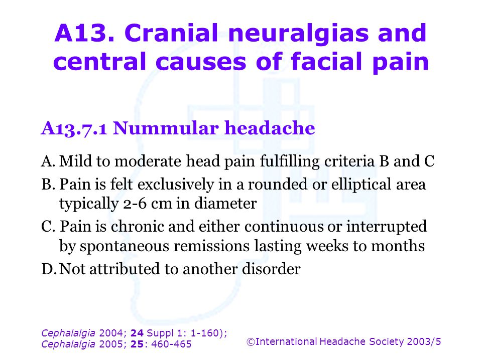 A13. Cranial neuralgias and central causes of facial pain