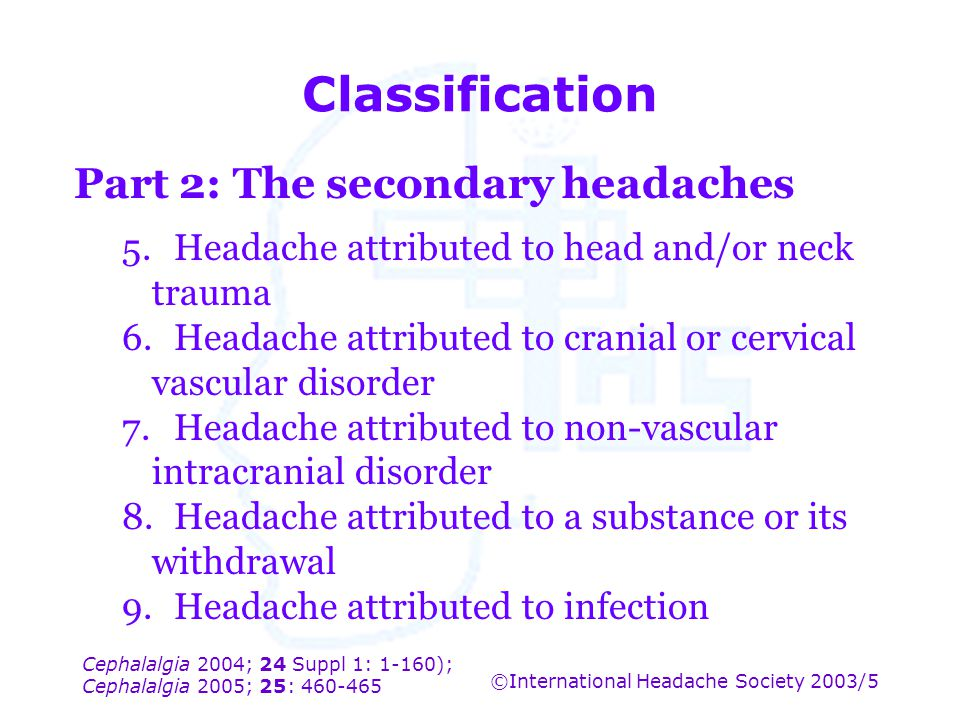 Classification Part 2: The secondary headaches