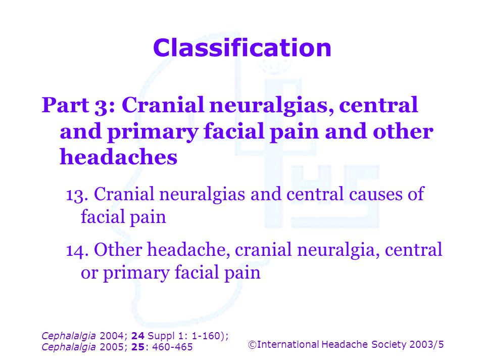 Classification Part 3: Cranial neuralgias, central and primary facial pain and other headaches.