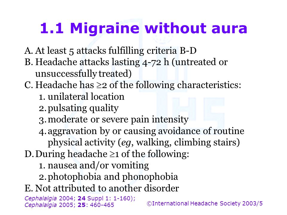 1.1 Migraine without aura A. At least 5 attacks fulfilling criteria B-D. B. Headache attacks lasting 4-72 h (untreated or unsuccessfully treated)
