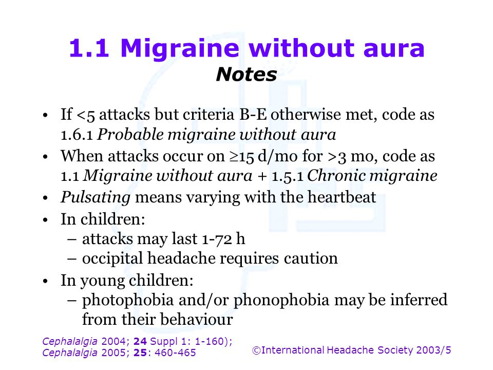 1.1 Migraine without aura Notes