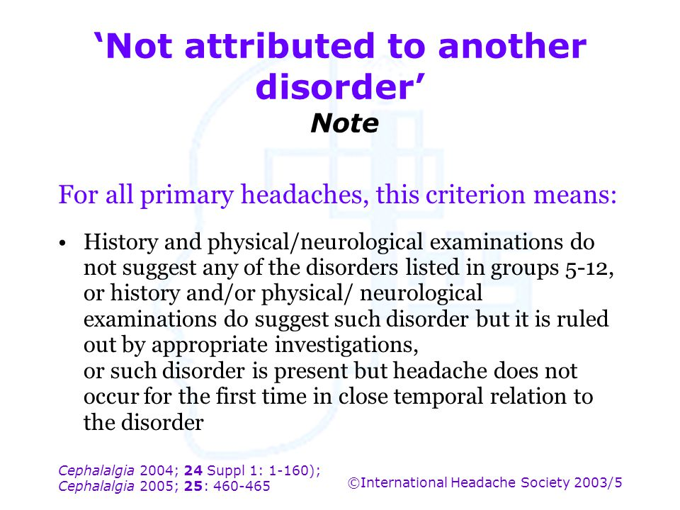 'Not attributed to another disorder' Note