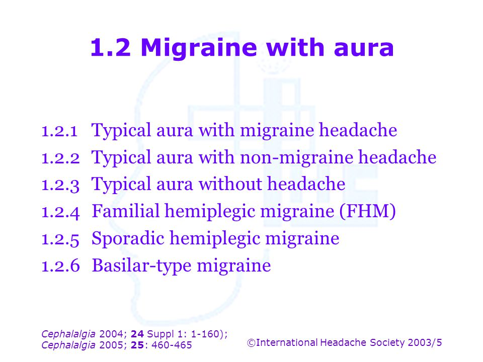 1.2 Migraine with aura 1.2.1 Typical aura with migraine headache