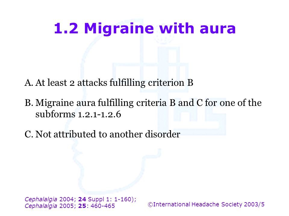 1.2 Migraine with aura A. At least 2 attacks fulfilling criterion B