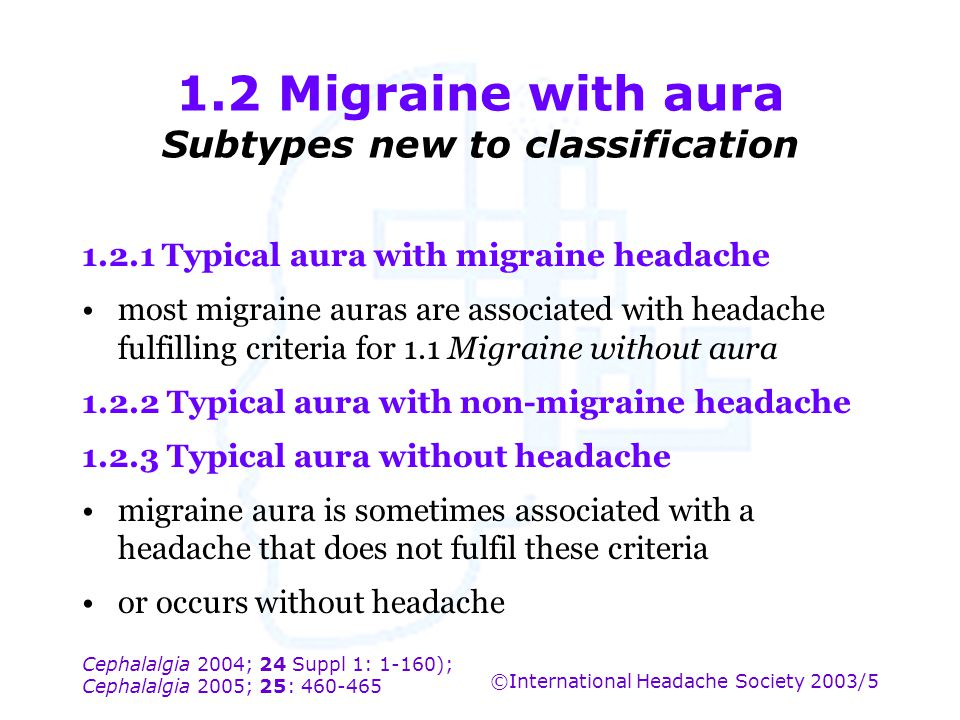 1.2 Migraine with aura Subtypes new to classification