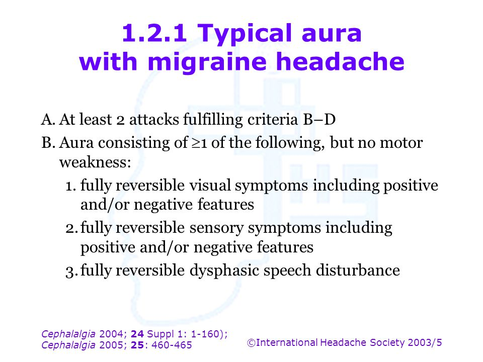 1.2.1 Typical aura with migraine headache