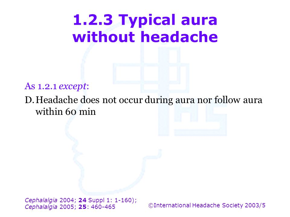 1.2.3 Typical aura without headache