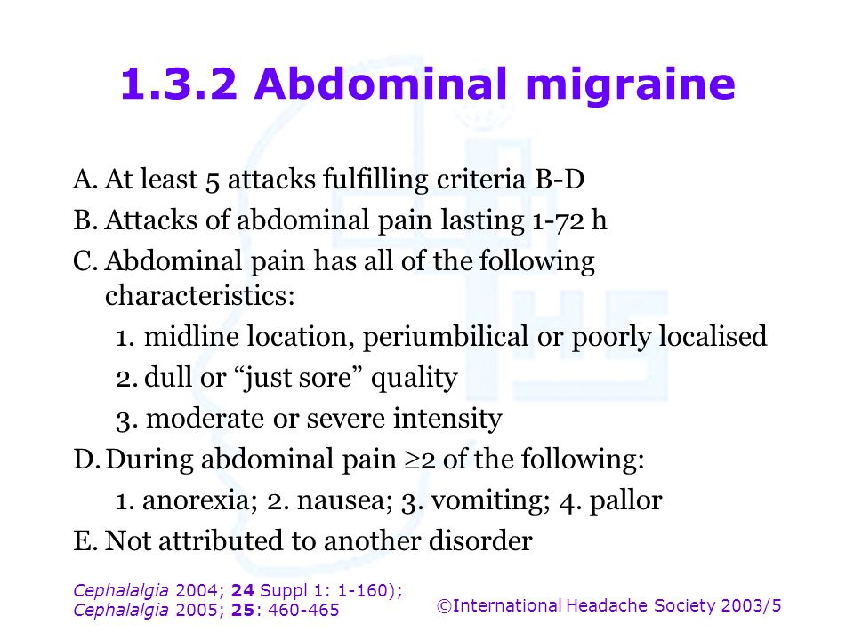 1.3.2 Abdominal migraine A. At least 5 attacks fulfilling criteria B-D