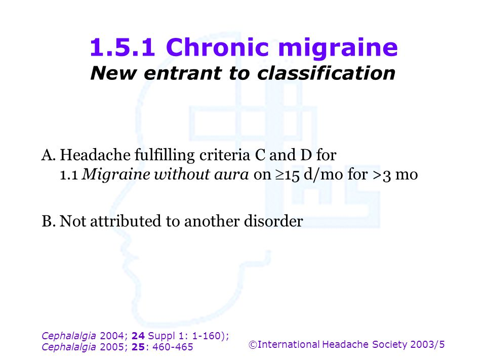 1.5.1 Chronic migraine New entrant to classification