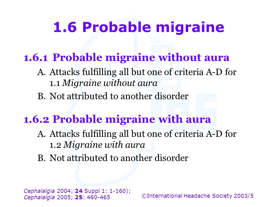 1.6 Probable migraine 1.6.1 Probable migraine without aura