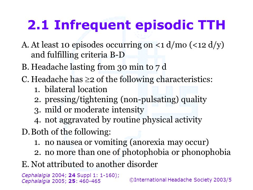 2.1 Infrequent episodic TTH