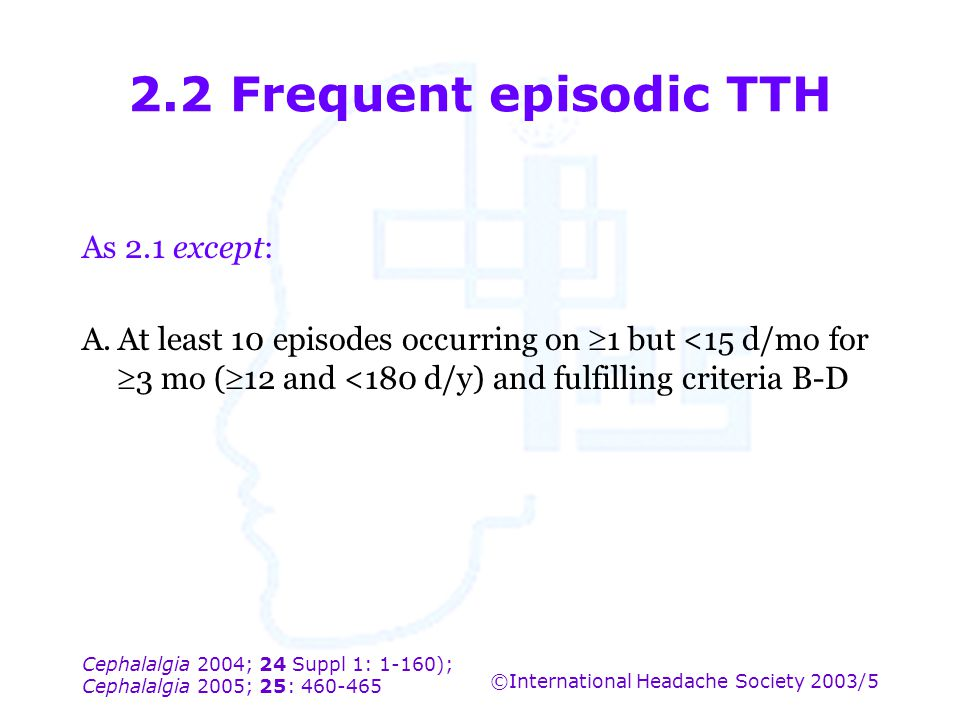 2.2 Frequent episodic TTH As 2.1 except: