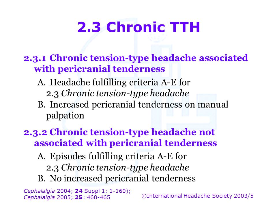 2.3 Chronic TTH 2.3.1 Chronic tension-type headache associated with pericranial tenderness.