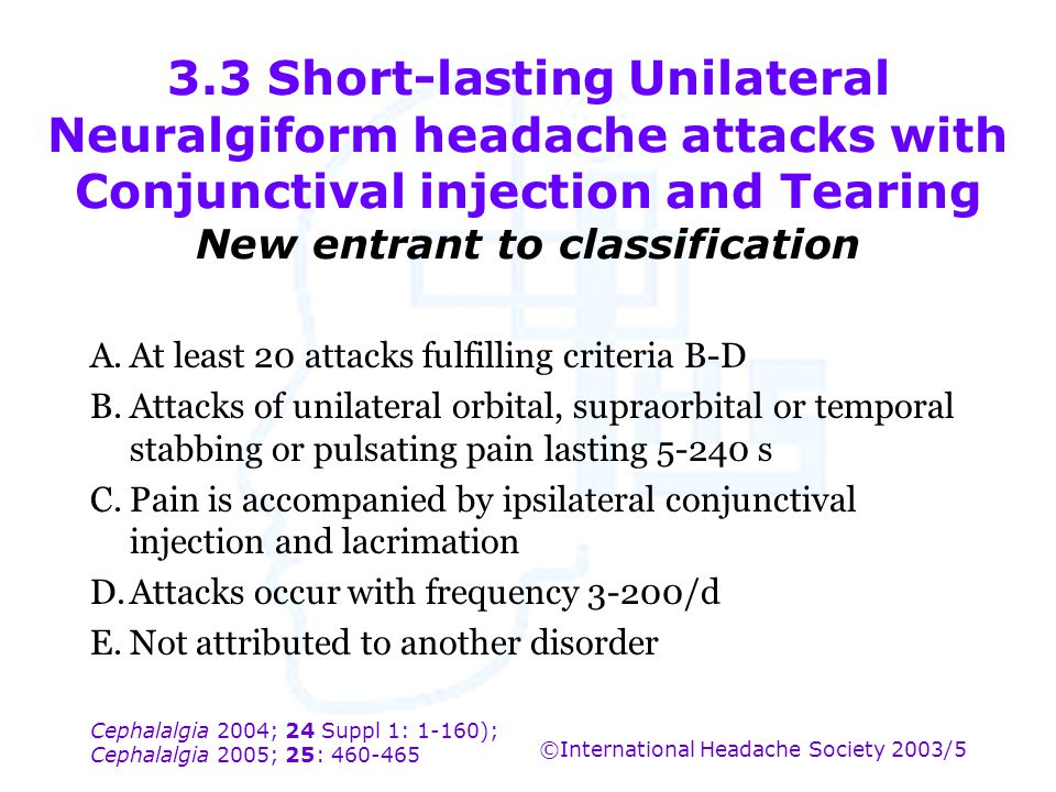 3.3 Short-lasting Unilateral Neuralgiform headache attacks with Conjunctival injection and Tearing New entrant to classification