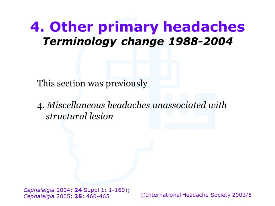 4. Other primary headaches Terminology change 1988-2004