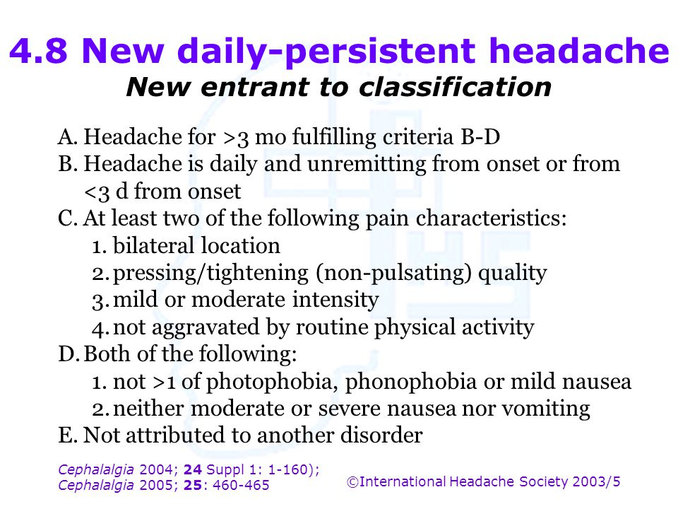 4.8 New daily-persistent headache New entrant to classification