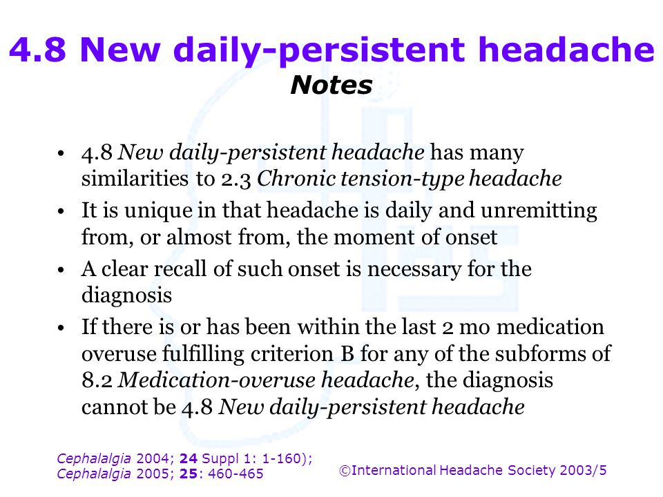 4.8 New daily-persistent headache Notes