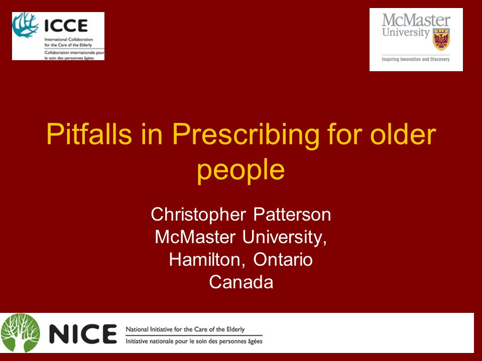 Pitfalls in Prescribing for older people