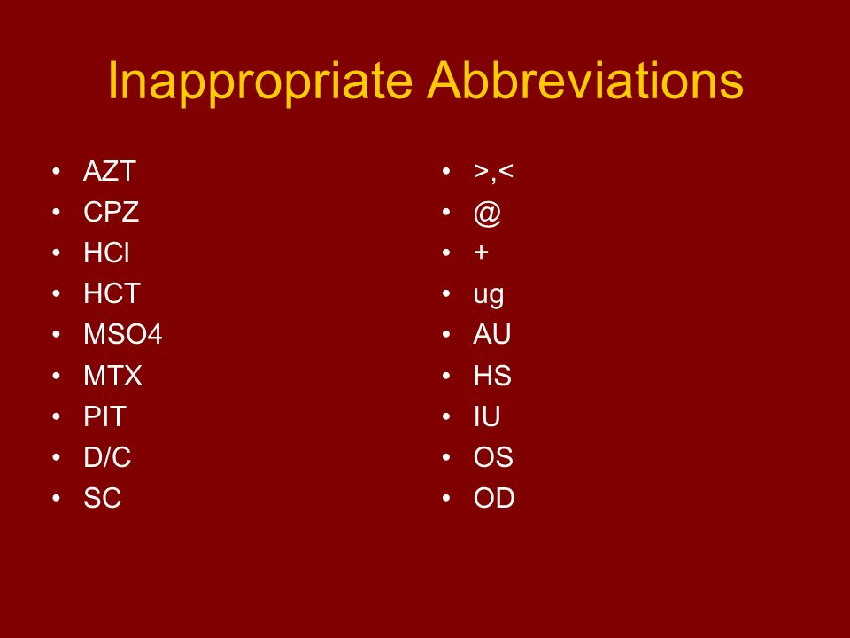 Inappropriate Abbreviations