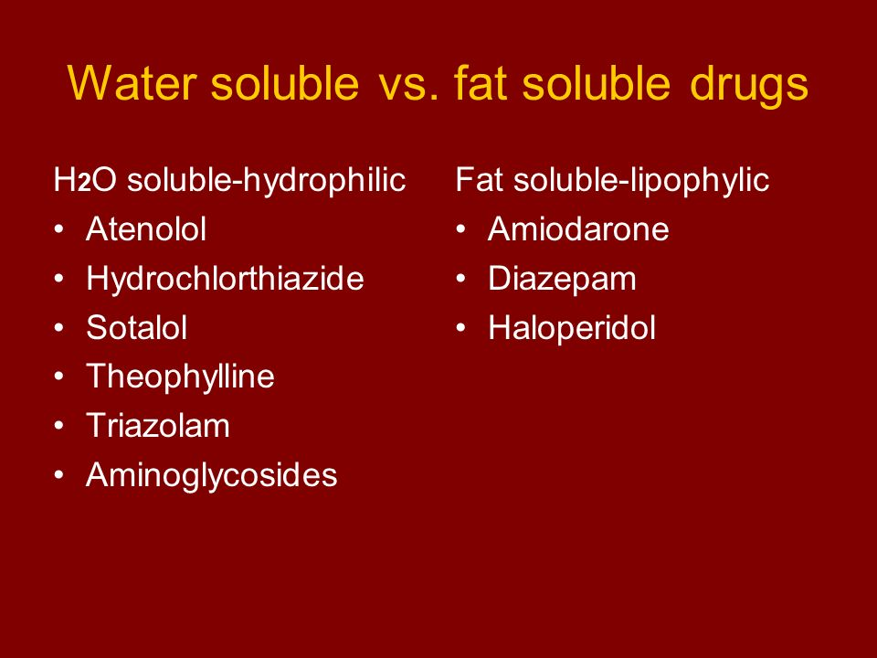 Water soluble vs. fat soluble drugs