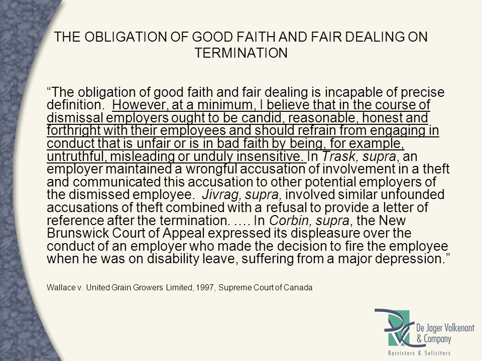 THE OBLIGATION OF GOOD FAITH AND FAIR DEALING ON TERMINATION