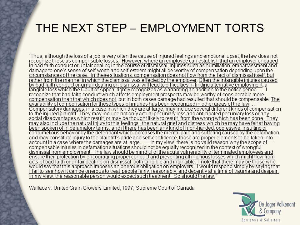 THE NEXT STEP – EMPLOYMENT TORTS