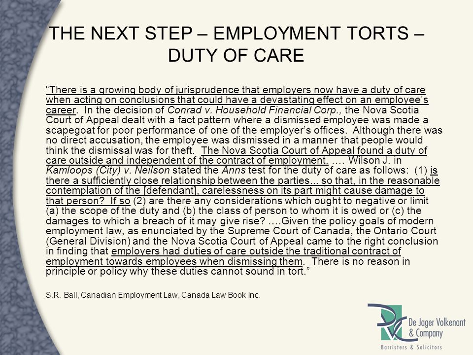 THE NEXT STEP – EMPLOYMENT TORTS – DUTY OF CARE