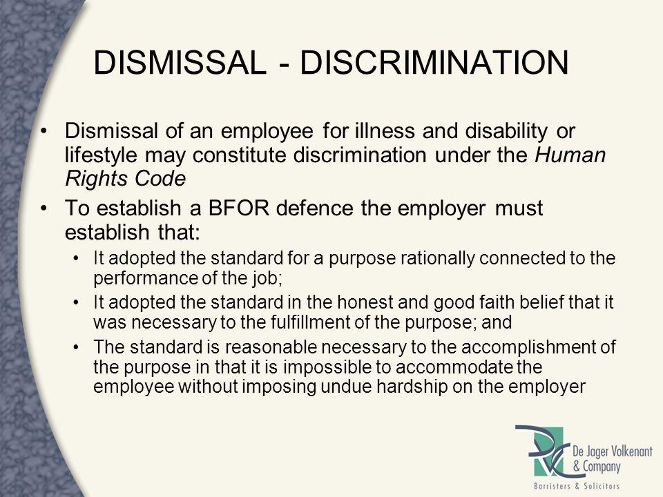 DISMISSAL - DISCRIMINATION